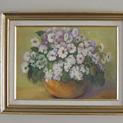 SALE Wonderful Framed Vintage Oil Painting with Flowers Signed