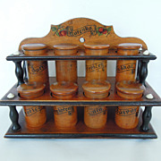 SALE Antique Wood Spice Rack, Cabinet, Treen