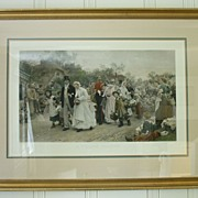 SALE The Village Wedding Hand Colored Engraving by Sir Samuel Luke Fildes Framed
