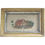 SALE Antique Watercolor Painting, English Village