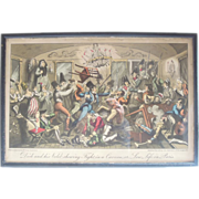 SALE Original Hand Colored Etching by G. Cruikshank, Dick and His Valet Shewing Fight in Cavea
