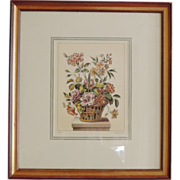 SALE Hand Colored Engraving by L. Tessier, Basket of Flowers