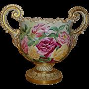 Spectacular Ornate Antique American Belleek Jardiniere Vase Urn Gorgeous Hand Painted Roses