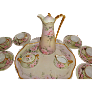 Spectacular Antique Limoges France Complete Cocoa set Chocolate Set with Hand Painted Roses or