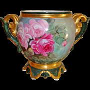 Beautiful Ornate Antique Limoges France Jardiniere Vase Urn Hand Painted Roses