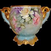 Wonderful Antique Limoges France Hand Painted Porcelain Ornate Jardiniere Vase Urn Roses & ...
