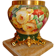 Beautiful Limoges France Hand Painted French Porcelain Jardiniere with ornate base Gorgeous ..
