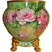 Master China Painter LIMOGES Hand Painted Porcelain  Jardiniere w Base Spectacular Pink Roses