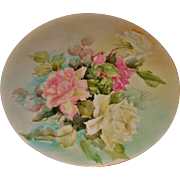 Beautiful Antique Limoges France Hand Painted Porcelain French Tray for Punch Bowl Jardiniere