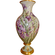 Spectacular Antique Limoges France Hand Painted Porcelain  2 piece Bolted Floor Vase with ...