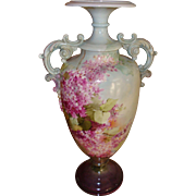 Amazing Antique Belleek Hand Painted Porcelain Vase Lilacs