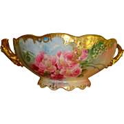 Beautiful Limoges France Hand Painted French Porcelain Handled Fruit Bowl- Punch Bowl - Roses