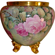 Phenomenal Antique Bavarian Hand Painted Porcelain Victorian Jardiniere Urn Vase Superb Roses