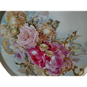 Beautiful Limoges France Hand Painted Porcelain French Tray Plaque for Jardiniere Punch Bowl o