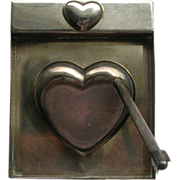 Vintage Heart Cupid Bow Arrow Pen Pad Paperweight Heavy Silver
