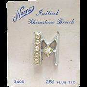 Vintage Nemo Letter Initial Rhinestone Pin Brooch M Original Card Silver Plate