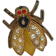 Antique Enamel Rhinestone Fly Insect Perfume Cotton Pin Brooch