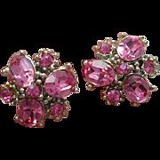 Vintage Pink Rhinestone Silver Plated Screw Back Earrings
