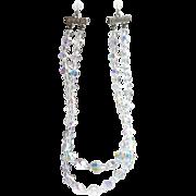 Vintage Crystal Rhinestone Choker Necklace AB Aurora Borealis Beads Double Strand