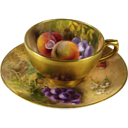 Royal Worcester Miniature Cabinet Fruit Cup and Saucer Signed Ricketts