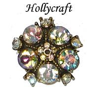 Vintage Hollycraft Aurora Borealis Rhinestone Cocktail Ring