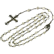 Vintage Sterling and Glass Crystal Rosary Beads