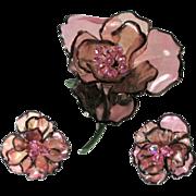 Vintage Vendome Huge Acrylic Pink Flower Brooch & Earrings
