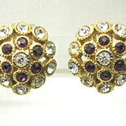 REDUCED Vintage Vendome Rhinestone Button Earrings