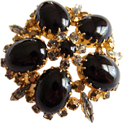 AUSTRIAN Glass rhinestone Large black art glass gold and navette stone brooch Made in Austria