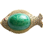 Cute HAR signed figural Green Chrysoprase glass pave rhinestone fish brooch pin