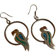 Mexican STERLING SILVER crushed turquoise malachite LARGE bird Parrot hoop drop TAXCO Mexico .