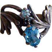 Stunning STERLING Silver blue topaz glass crystal stone Art Nouveau ring