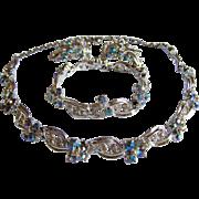 Lovely AURORA BOREALIS Carnival ble rhinestone scrolling necklace bracelet earring Full Parure