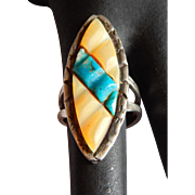 Very neat STERLING Turquoise Mother of Pearl Carved stone Native American South west Sterling