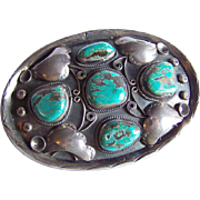 Gigantic STERLING Silver Signed Native American Rose CASTILLO Turquoise Old Pawn buckle