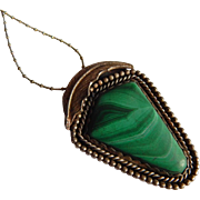 Extra Large MALACHITE Sterling silver Southwest Native American pendant necklace