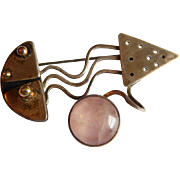 Modern STERLING Silver Abstract Pink Quartz Jade Fish gold vermeil signed pin brooch