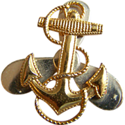 Sterling Silver Naval NAVY Military Anchor gold vermeil silver brooch pin