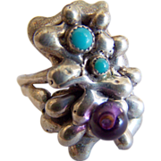 Unique AMETHYST Turquoise STERLING Silver abstract odd Modern ring