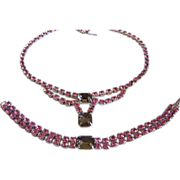 Sparkling Pink Smoky Quartz rhinestone costume necklace bracelet set