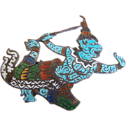 Enameled STERLING SILVER Thai Siam HALLMARKED signed Balinese dancer pin