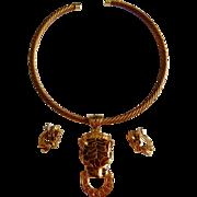 Neat Enameled TIGER LEOPARD door knocker Rhinestone necklace earrings Choker collar set
