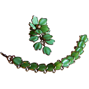 Outstanding TRIFARI Poured green molded glass bracelet brooch pin by A. Philippe