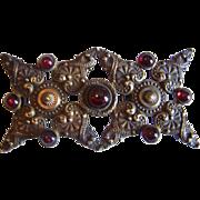 Fine Antique STERLING Silver Victorian EUROPEAN mark Hungarian GARNET buckle