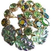 Bright WEISS signed molded Glass Aurora Borealis iridescent green rhinestone crystal brooch
