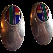 Fabulous STERLING Silver Inlay stone ZUNI tribe earrings