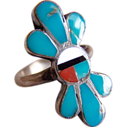 ZUNI Native American tribe Inlay turquoise Sun face sterling silver ring signed JP