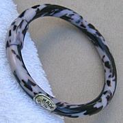 SALE Pale Lavender and Black Bangle Bracelet, by Lea Stein, Paris