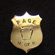 Pennsylvania Page to U.S. House of Representatives Badge