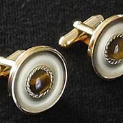 Tigers Eye Cufflinks, Gold tone cuff links, c. 1970